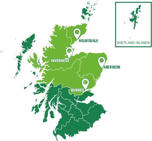 Depots Across Scotland Map